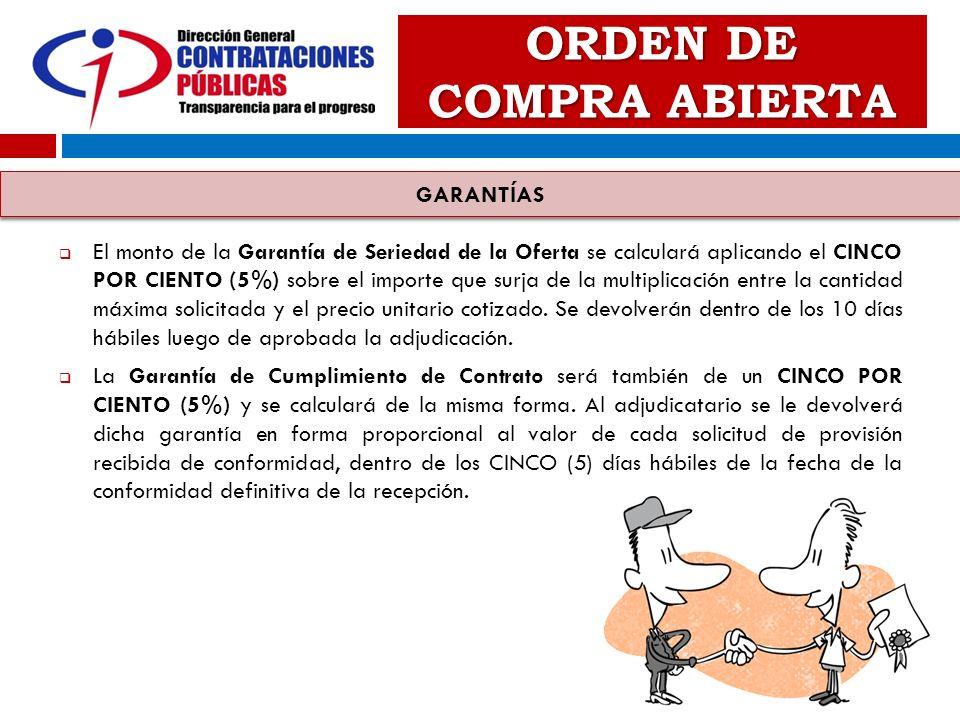 ORDEN DE COMPRA ABIERTA El monto de la Garantía de Seriedad de la Oferta se calculará aplicando el CINCO POR CIENTO (5%) sobre el importe que surja de