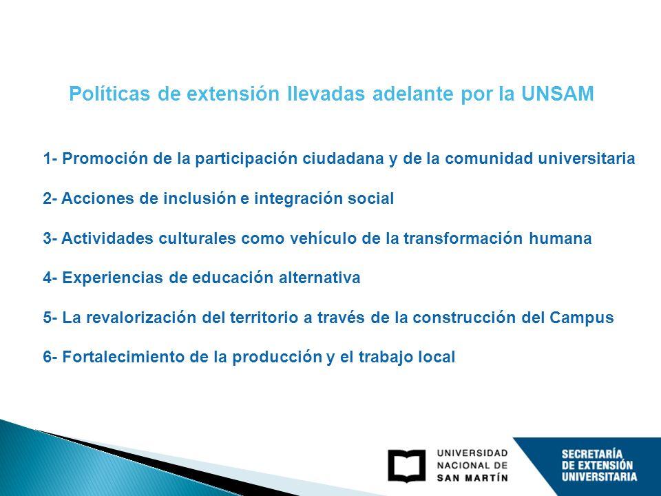 1- Promoción de la participación ciudadana y de la comunidad universitaria 2- Acciones de inclusión e integración social 3- Actividades culturales com