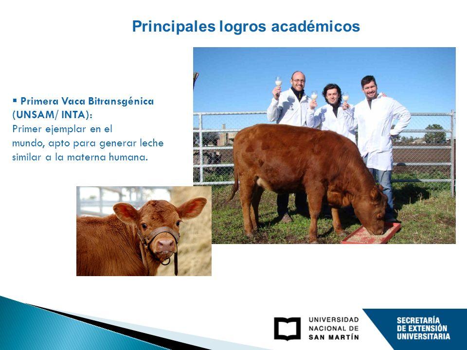 Principales logros académicos Primera Vaca Bitransgénica (UNSAM/ INTA): Primer ejemplar en el mundo, apto para generar leche similar a la materna humana.
