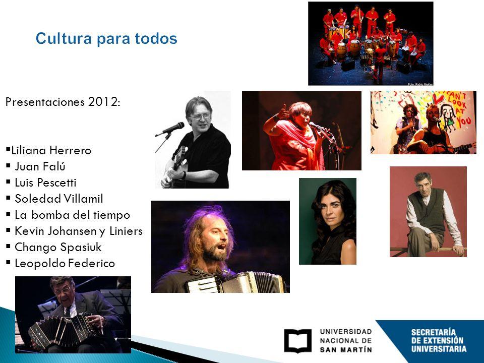 Presentaciones 2012: / 2012 concerts Liliana Herrero Juan Falú Luis Pescetti Soledad Villamil La bomba del tiempo Kevin Johansen y Liniers Chango Spas