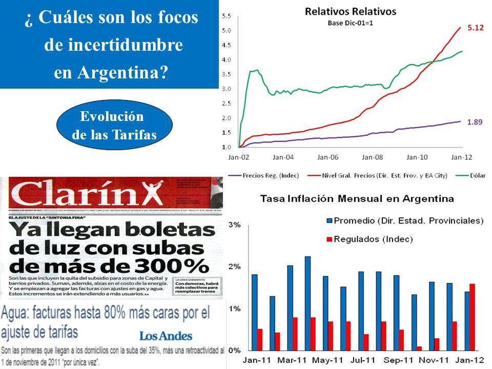 ¿ Cuáles son los focos de incertidumbre en Argentina Evolución de las Tarifas
