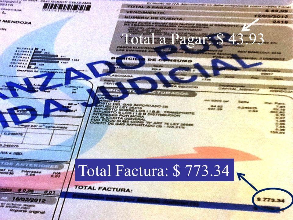 Total a Pagar: $ 43.93 Total Factura: $ 773.34