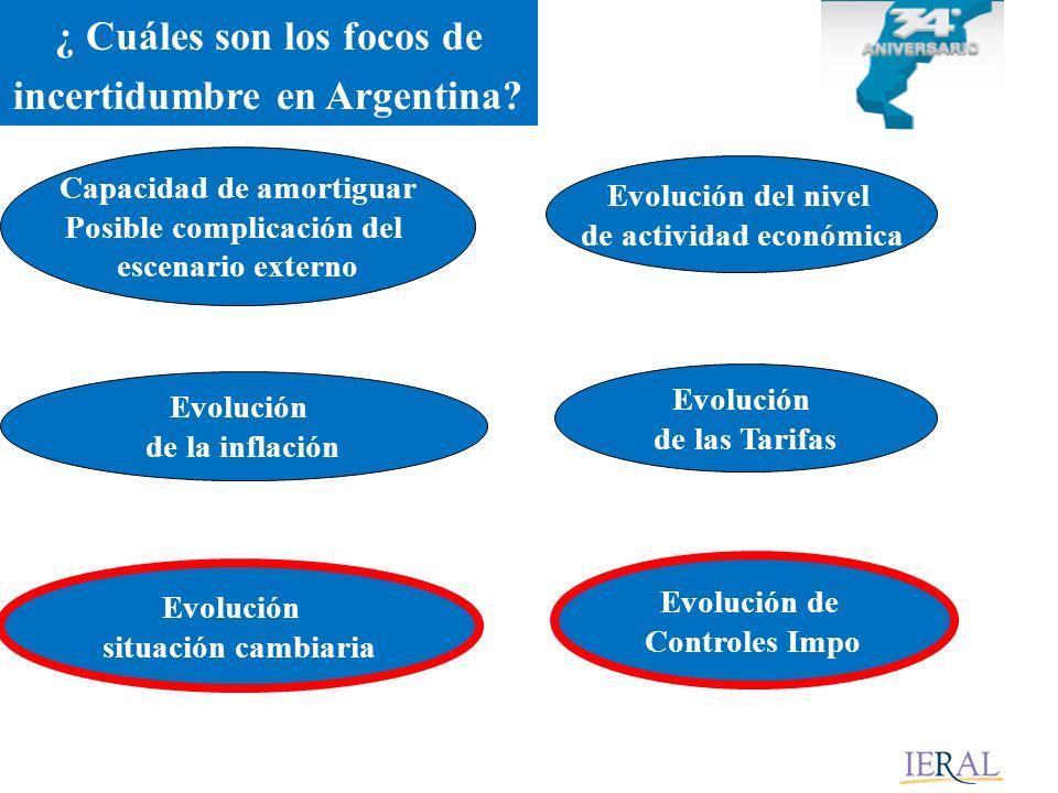 Evolución situación cambiaria Evolución de la inflación Evolución de Controles Impo Evolución del nivel de actividad económica Evolución de las Tarifas Capacidad de amortiguar Posible complicación del escenario externo ¿ Cuáles son los focos de incertidumbre en Argentina