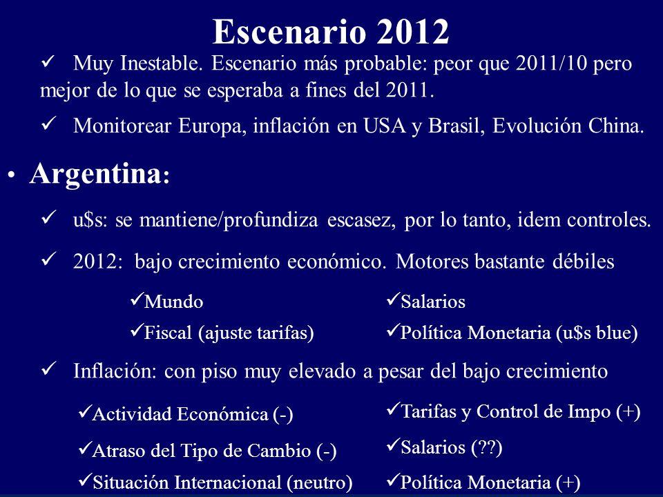 2012: bajo crecimiento económico.