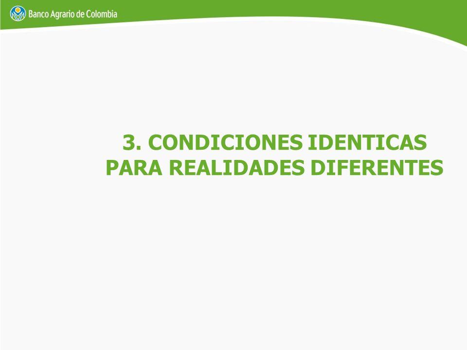 3. CONDICIONES IDENTICAS PARA REALIDADES DIFERENTES