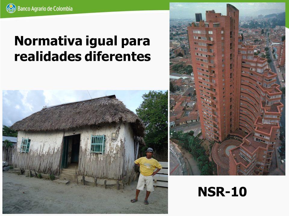 Normativa igual para realidades diferentes NSR-10