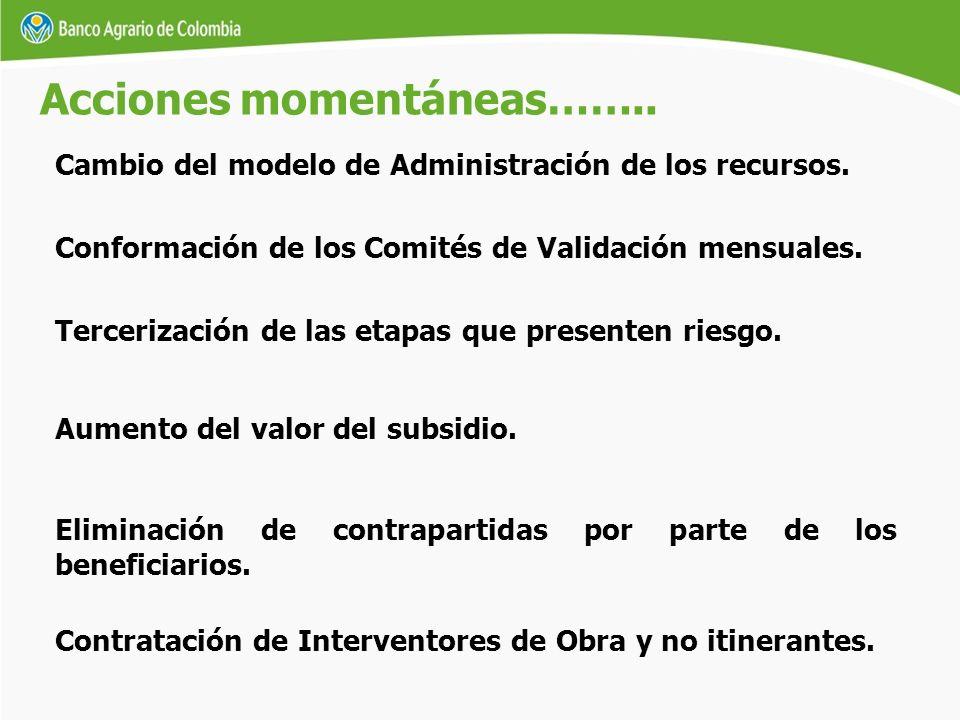 Cambio del modelo de Administración de los recursos. Acciones momentáneas…….. Contratación de Interventores de Obra y no itinerantes. Conformación de