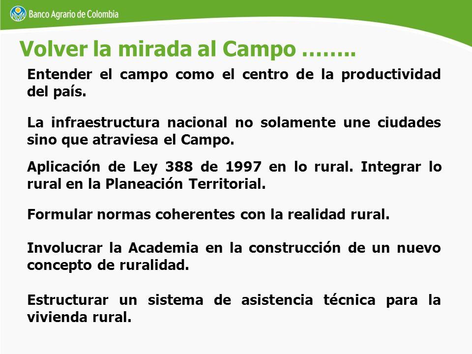 Entender el campo como el centro de la productividad del país. Volver la mirada al Campo …….. Formular normas coherentes con la realidad rural. Involu