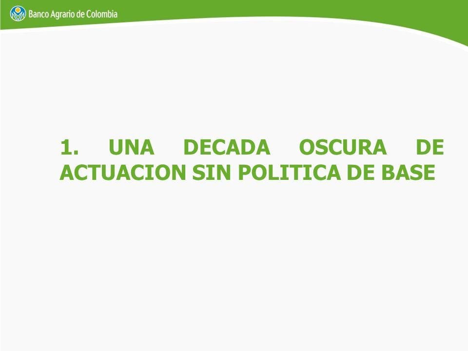 1. UNA DECADA OSCURA DE ACTUACION SIN POLITICA DE BASE