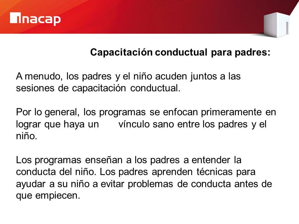 Capacitación conductual para padres: A menudo, los padres y el niño acuden juntos a las sesiones de capacitación conductual.