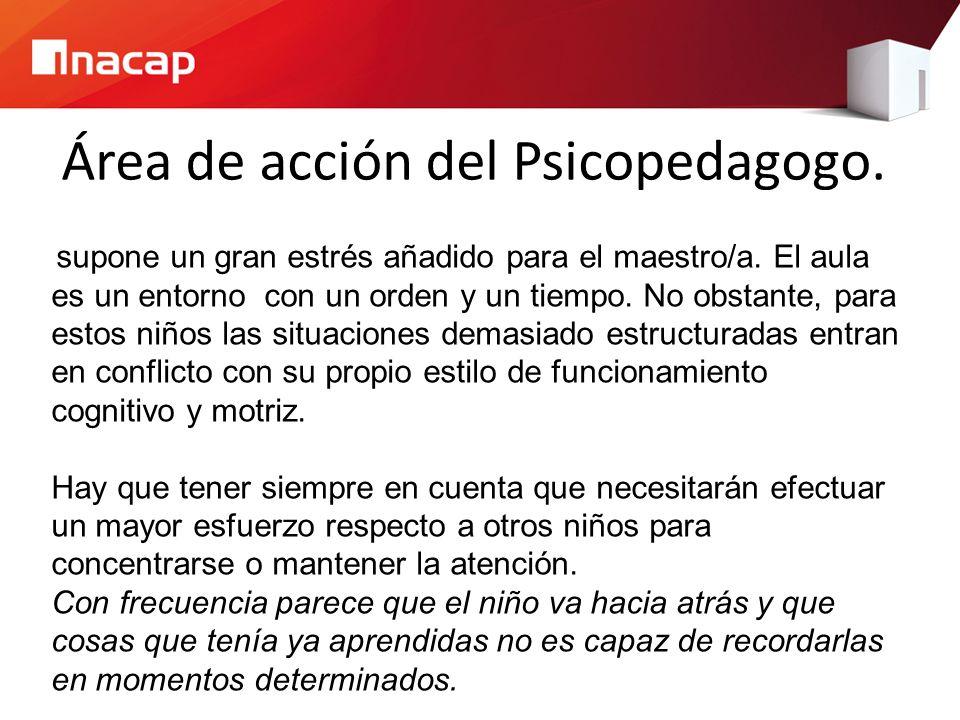 Área de acción del Psicopedagogo.supone un gran estrés añadido para el maestro/a.