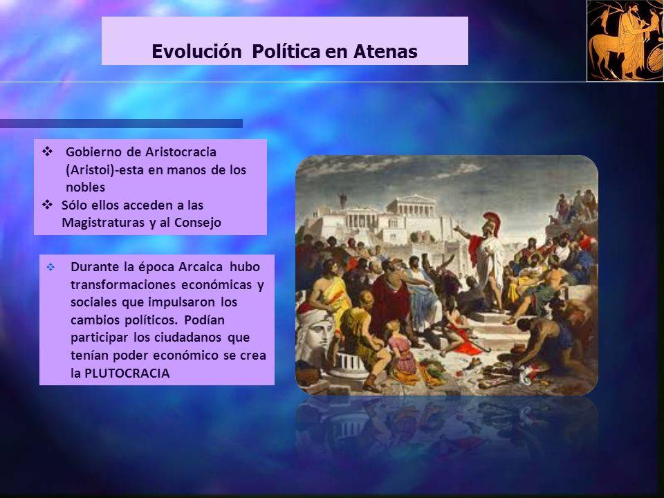 Gobierno de Aristocracia (Aristoi)-esta en manos de los nobles Sólo ellos acceden a las Magistraturas y al Consejo Evolución Política en Atenas Durante la época Arcaica hubo transformaciones económicas y sociales que impulsaron los cambios políticos.