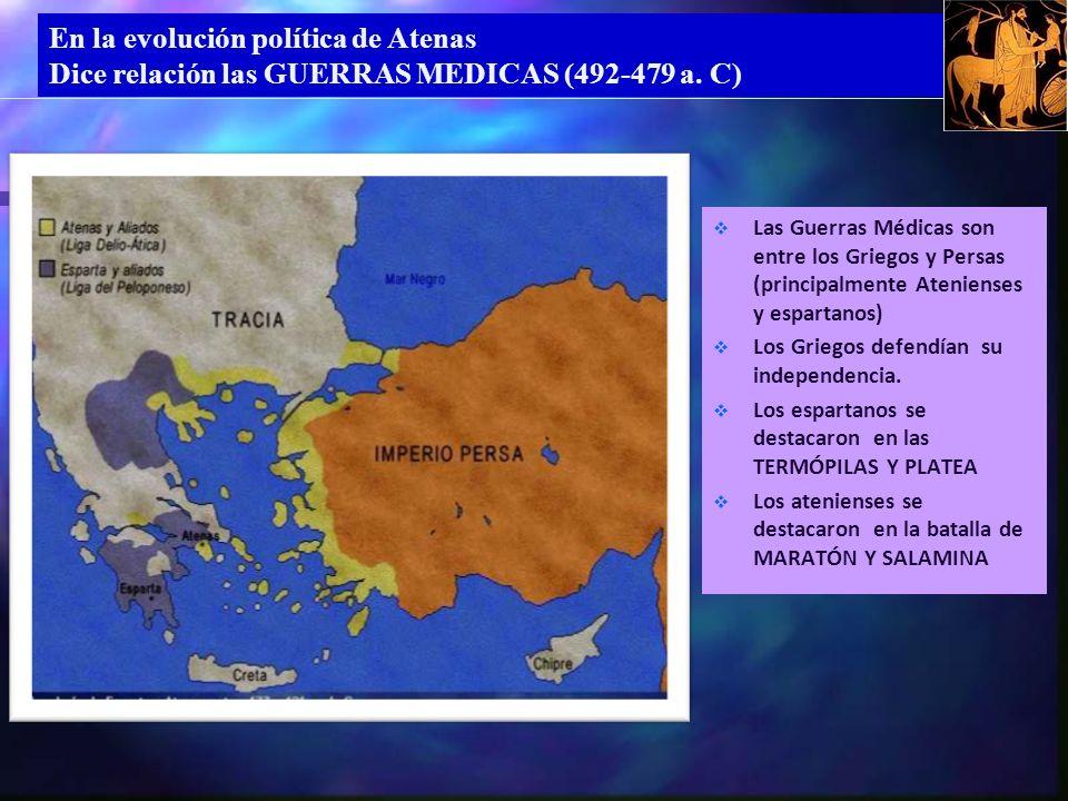 En la evolución política de Atenas Dice relación las GUERRAS MEDICAS (492-479 a.