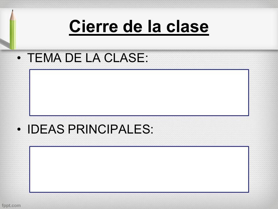 Cierre de la clase TEMA DE LA CLASE: IDEAS PRINCIPALES: