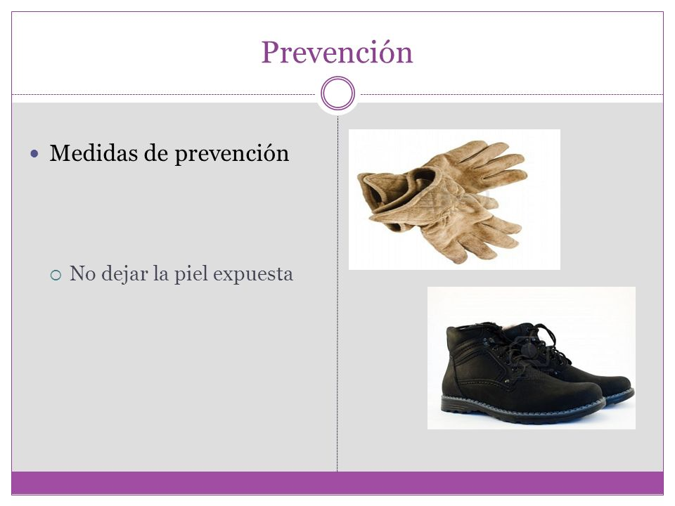 Prevención Medidas de prevención No dejar la piel expuesta