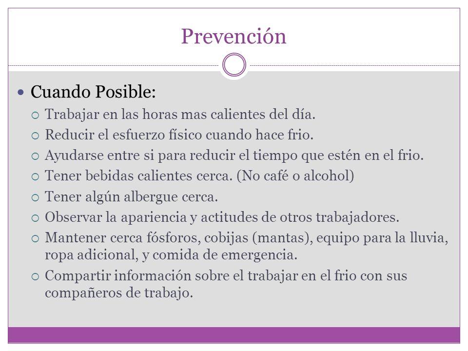 Prevención Cuando Posible: Trabajar en las horas mas calientes del día.