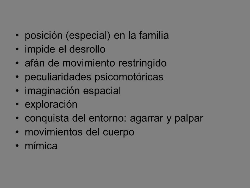 posición (especial) en la familia impide el desrollo afán de movimiento restringido peculiaridades psicomotóricas imaginación espacial exploración con