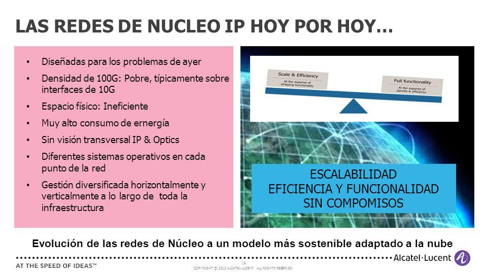 COPYRIGHT © 2012 ALCATEL-LUCENT. ALL RIGHTS RESERVED. 16 Diseñadas para los problemas de ayer Densidad de 100G: Pobre, típicamente sobre interfaces de