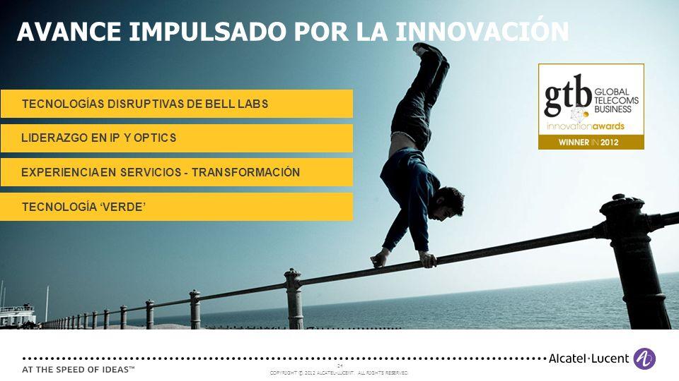 COPYRIGHT © 2012 ALCATEL-LUCENT. ALL RIGHTS RESERVED. 24 AVANCE IMPULSADO POR LA INNOVACIÓN TECNOLOGÍA VERDE EXPERIENCIA EN SERVICIOS - TRANSFORMACIÓN