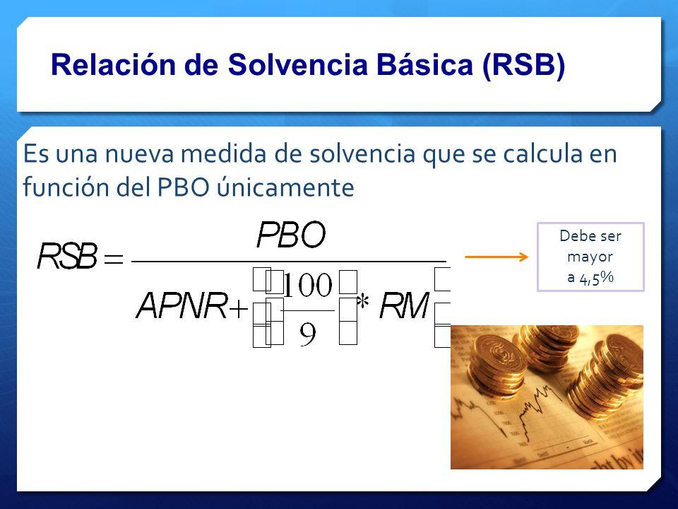 Relación de Solvencia Básica (RSB) Es una nueva medida de solvencia que se calcula en función del PBO únicamente Debe ser mayor a 4,5%
