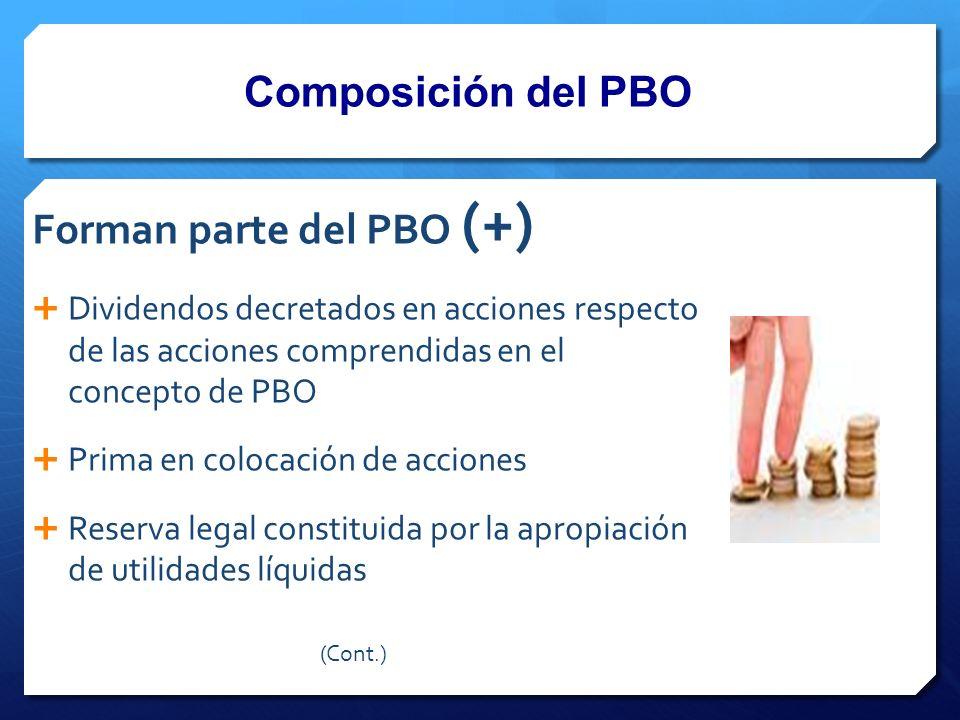 Composición del PBO Forman parte del PBO (+) Dividendos decretados en acciones respecto de las acciones comprendidas en el concepto de PBO Prima en colocación de acciones Reserva legal constituida por la apropiación de utilidades líquidas (Cont.)
