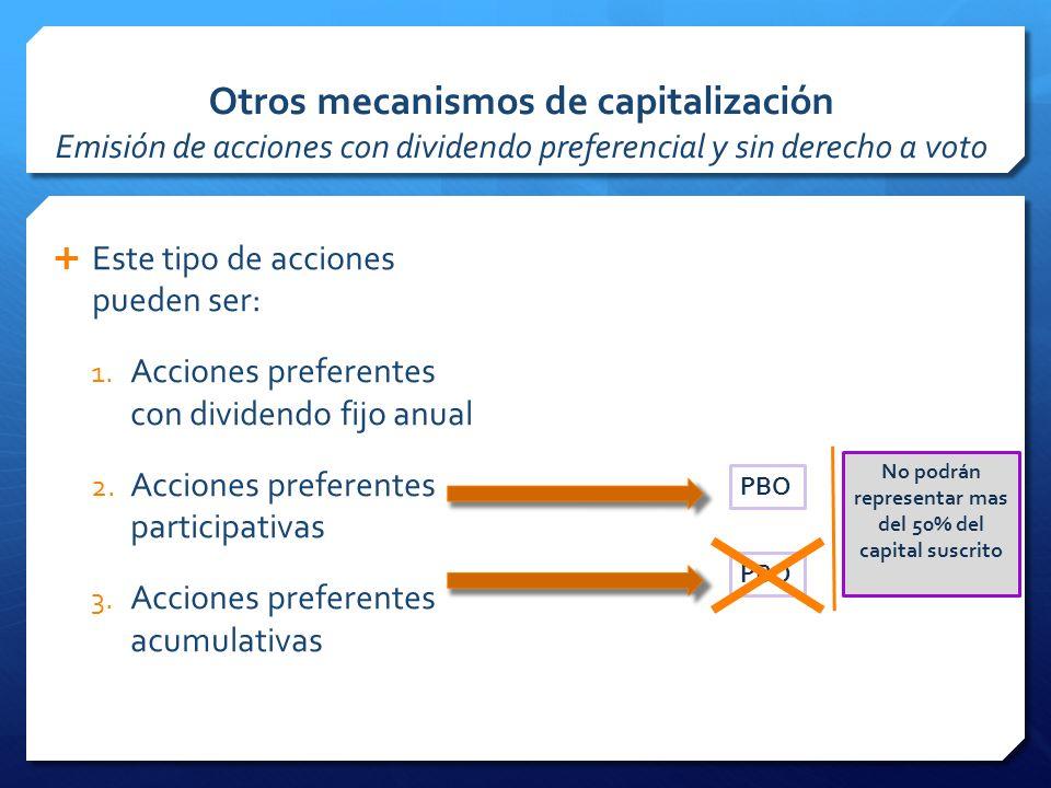 Otros mecanismos de capitalización Emisión de acciones con dividendo preferencial y sin derecho a voto Este tipo de acciones pueden ser: 1.