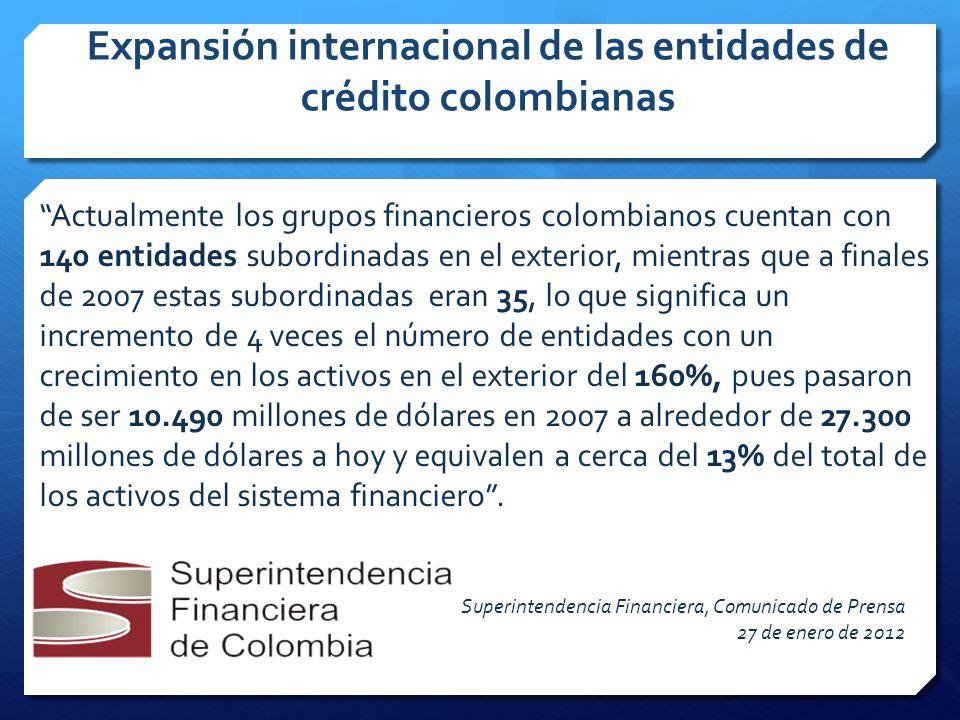 Expansión internacional de las entidades de crédito colombianas Actualmente los grupos financieros colombianos cuentan con 140 entidades subordinadas en el exterior, mientras que a finales de 2007 estas subordinadas eran 35, lo que significa un incremento de 4 veces el número de entidades con un crecimiento en los activos en el exterior del 160%, pues pasaron de ser 10.490 millones de dólares en 2007 a alrededor de 27.300 millones de dólares a hoy y equivalen a cerca del 13% del total de los activos del sistema financiero.