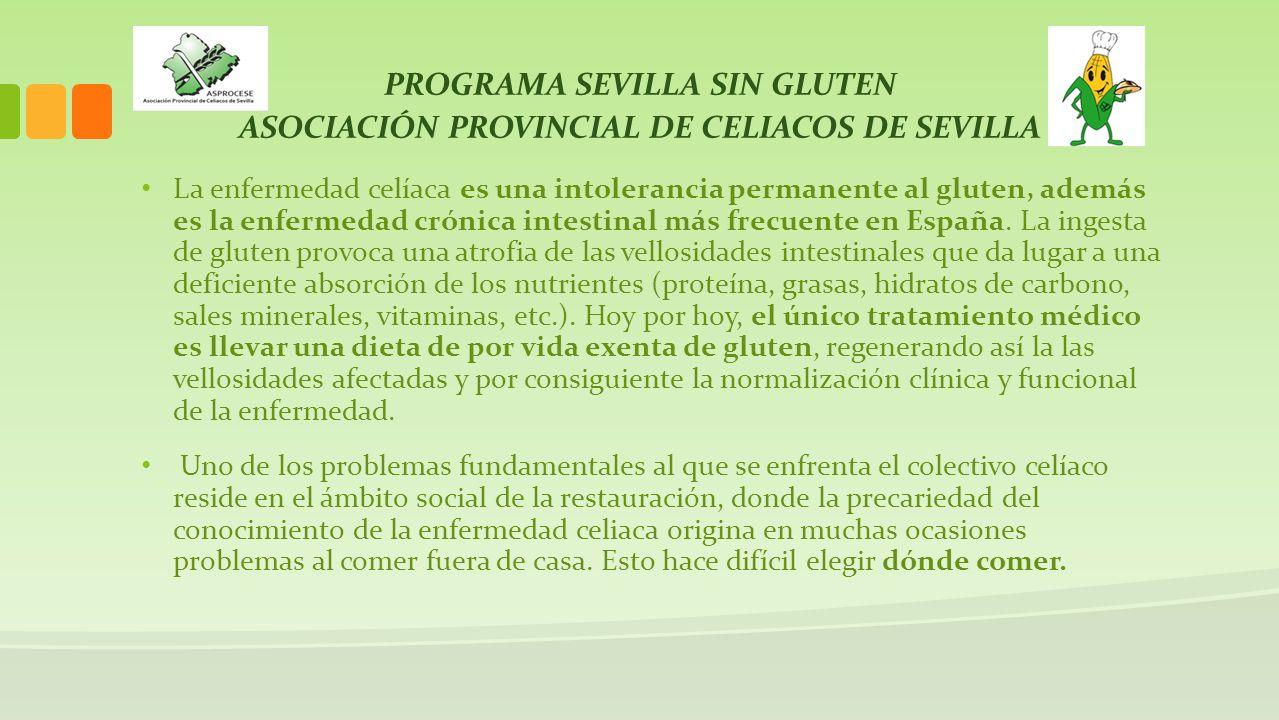 PROGRAMA SEVILLA SIN GLUTEN ASOCIACIÓN PROVINCIAL DE CELIACOS DE SEVILLA La enfermedad celíaca es una intolerancia permanente al gluten, además es la