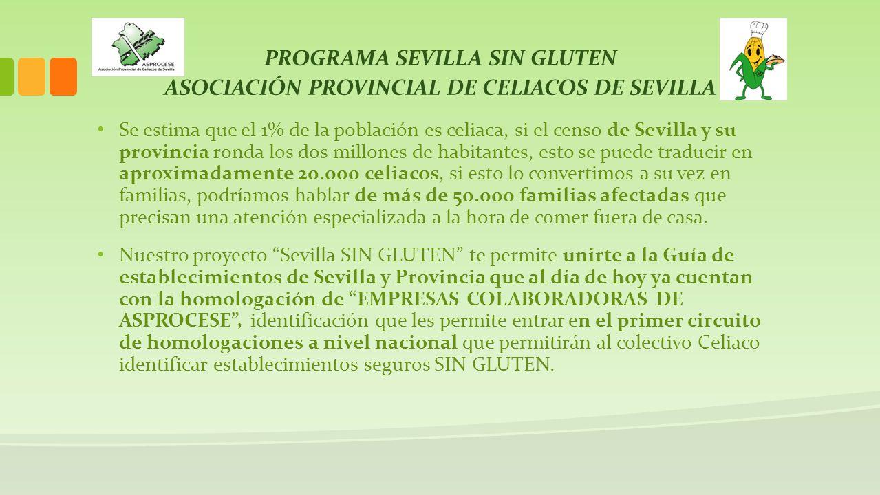 PROGRAMA SEVILLA SIN GLUTEN ASOCIACIÓN PROVINCIAL DE CELIACOS DE SEVILLA Se estima que el 1% de la población es celiaca, si el censo de Sevilla y su p