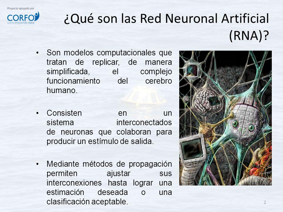 ¿Qué son las Red Neuronal Artificial (RNA)? Son modelos computacionales que tratan de replicar, de manera simplificada, el complejo funcionamiento del