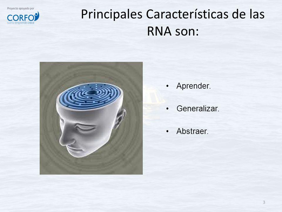 Principales Características de las RNA son: Aprender. Generalizar. Abstraer. 3