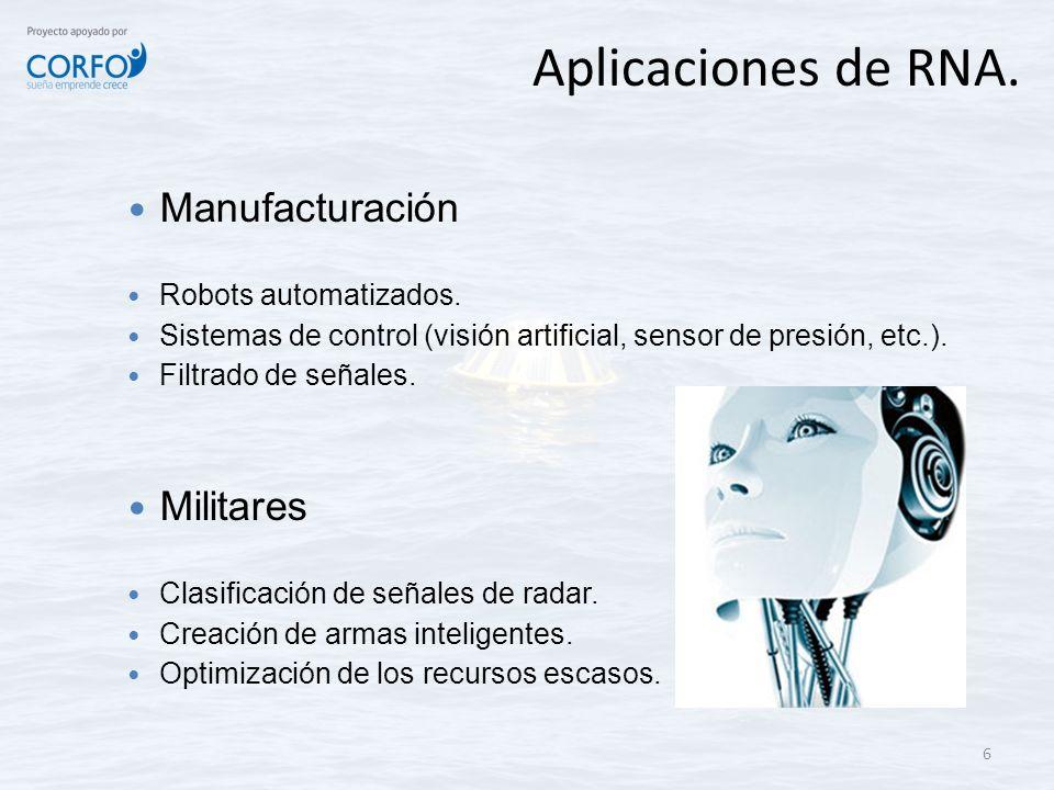 Aplicaciones de RNA. 6 Manufacturación Robots automatizados. Sistemas de control (visión artificial, sensor de presión, etc.). Filtrado de señales. Mi