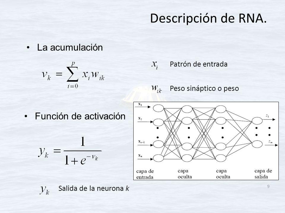 Descripción de RNA. La acumulación 9 Salida de la neurona k Patrón de entrada Peso sináptico o peso Función de activación