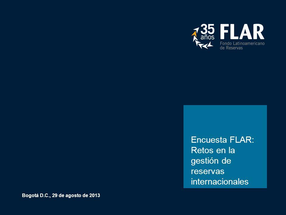 Encuesta FLAR: Retos en la gestión de reservas internacionales Bogotá D.C., 29 de agosto de 2013