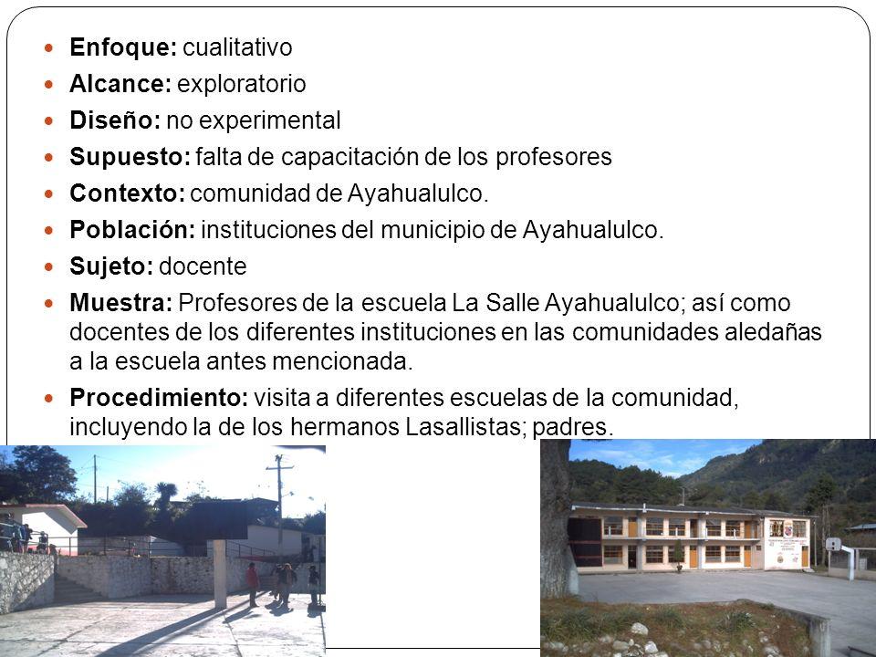 Enfoque: cualitativo Alcance: exploratorio Diseño: no experimental Supuesto: falta de capacitación de los profesores Contexto: comunidad de Ayahualulco.