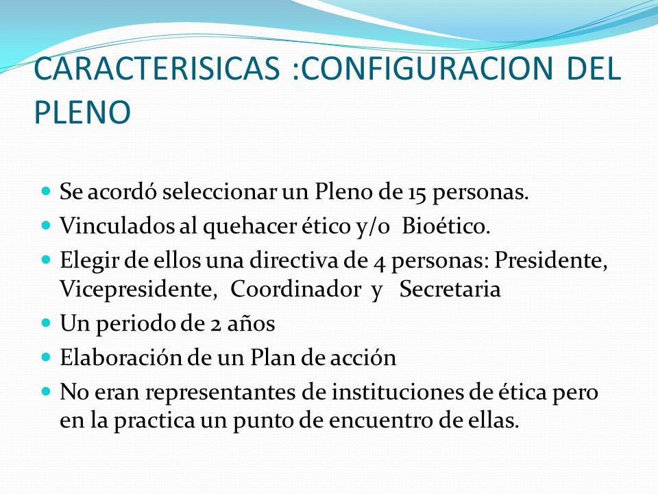 CARACTERISICAS :CONFIGURACION DEL PLENO Se acordó seleccionar un Pleno de 15 personas.