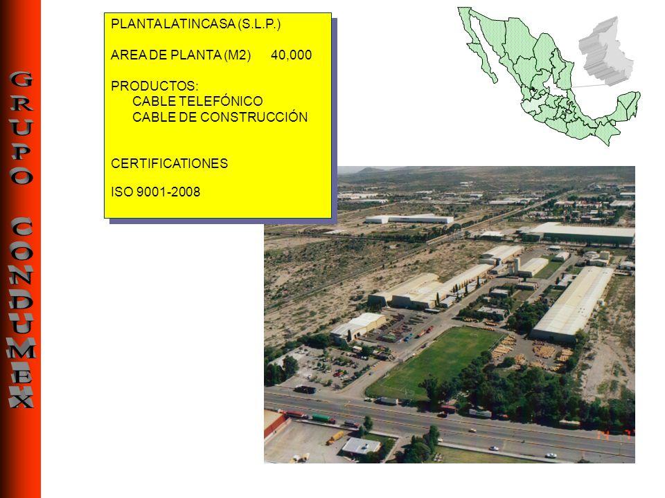 PLANTA LATINCASA (S.L.P.) AREA DE PLANTA (M2) 40,000 PRODUCTOS: CABLE TELEFÓNICO CABLE DE CONSTRUCCIÓN CERTIFICATIONES ISO 9001-2008 PLANTA LATINCASA
