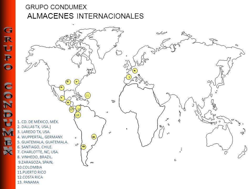 GRUPO CONDUMEX ALMACENES INTERNACIONALES ALMACENES INTERNACIONALES 1. CD. DE MÉXICO, MÉX. 2. DALLAS TX, USA.| 3. LAREDO TX, USA. 4. WUPPERTAL, GERMANY
