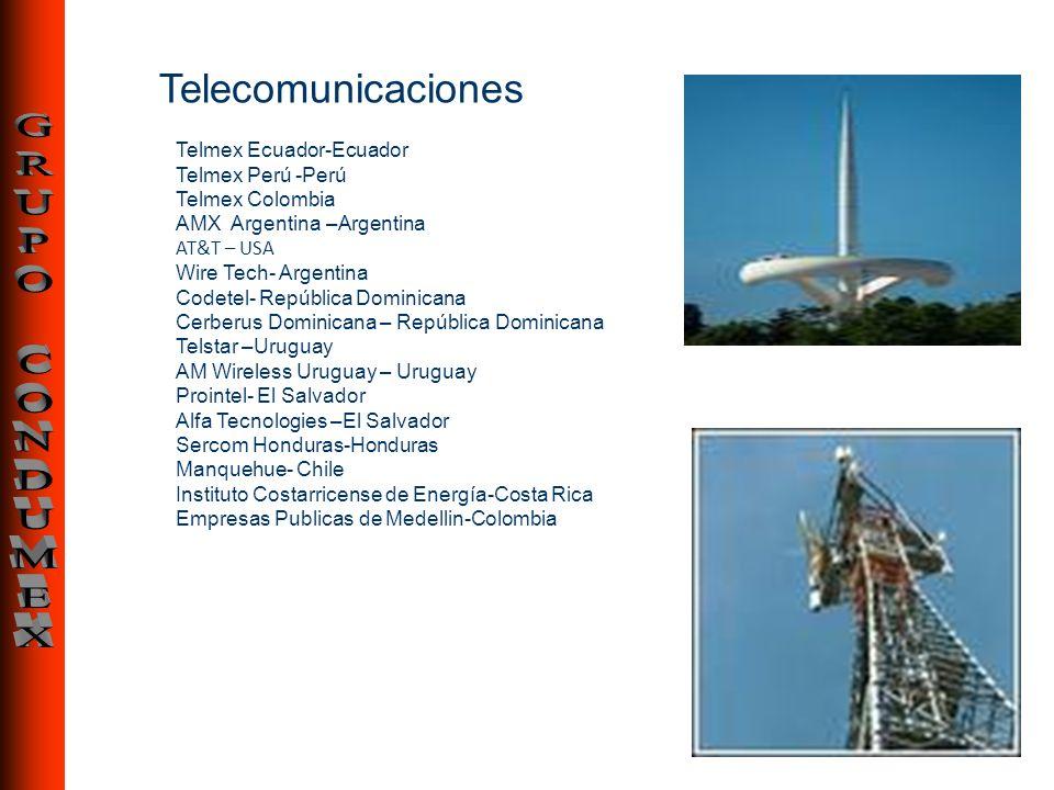 Telecomunicaciones Telmex Ecuador-Ecuador Telmex Perú -Perú Telmex Colombia AMX Argentina –Argentina AT&T – USA Wire Tech- Argentina Codetel- Repúblic