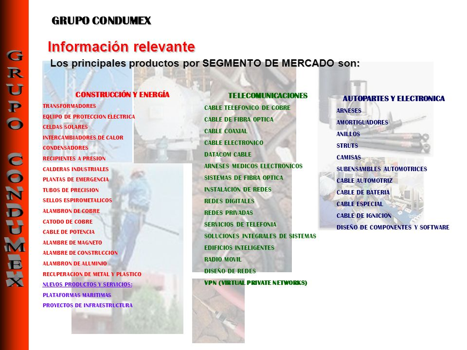 CONSTRUCCIÓN Y ENERGÍA TRANSFORMADORES EQUIPO DE PROTECCION ELECTRICA CELDAS SOLARES INTERCAMBIADORES DE CALOR CONDENSADORES RECIPIENTES A PRESION CAL