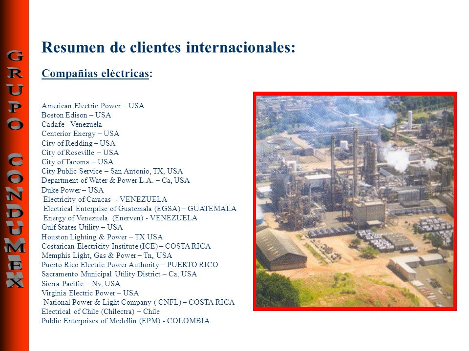 Resumen de clientes internacionales: Compañias eléctricas: American Electric Power – USA Boston Edison – USA Cadafe - Venezuela Centerior Energy – USA