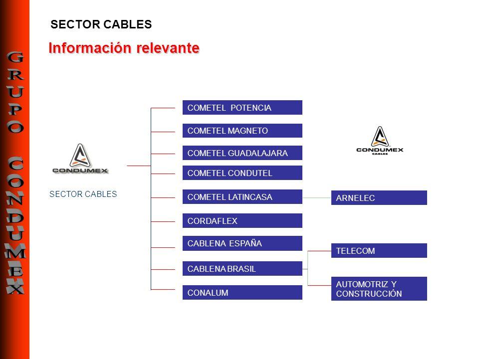 Información relevante SECTOR CABLES COMETEL POTENCIA CORDAFLEX COMETEL LATINCASA COMETEL MAGNETO COMETEL GUADALAJARA COMETEL CONDUTEL CABLENA ESPAÑA C