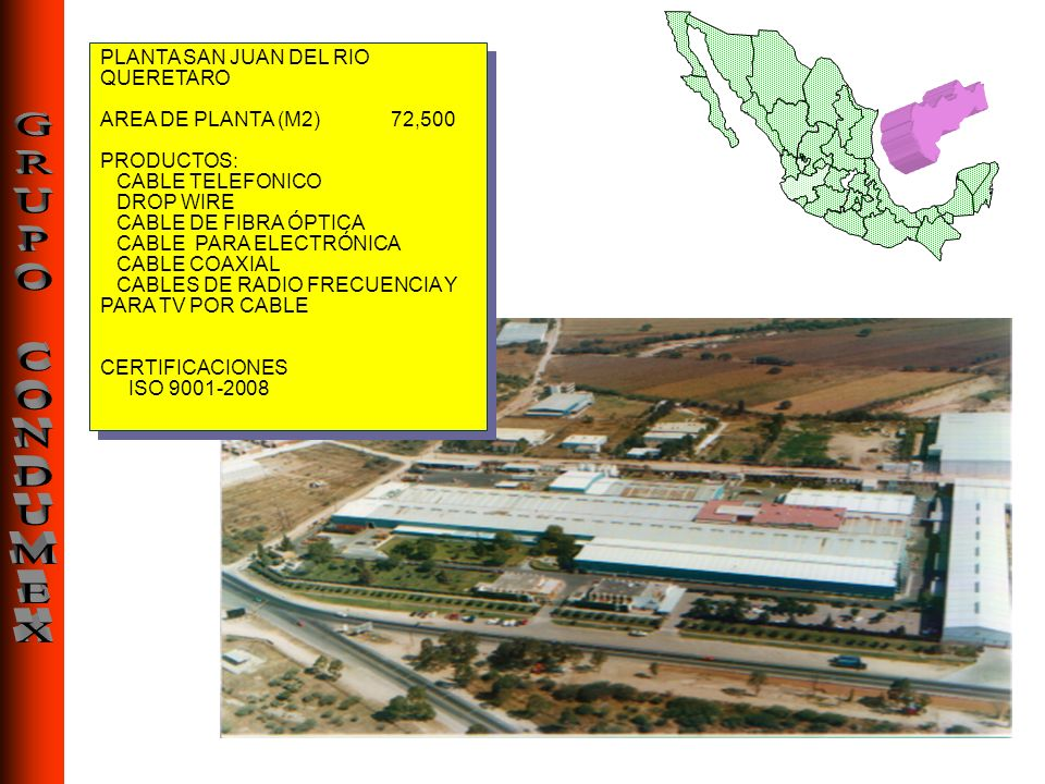 PLANTA SAN JUAN DEL RIO QUERETARO AREA DE PLANTA (M2) 72,500 PRODUCTOS: CABLE TELEFONICO DROP WIRE CABLE DE FIBRA ÓPTICA CABLE PARA ELECTRÓNICA CABLE