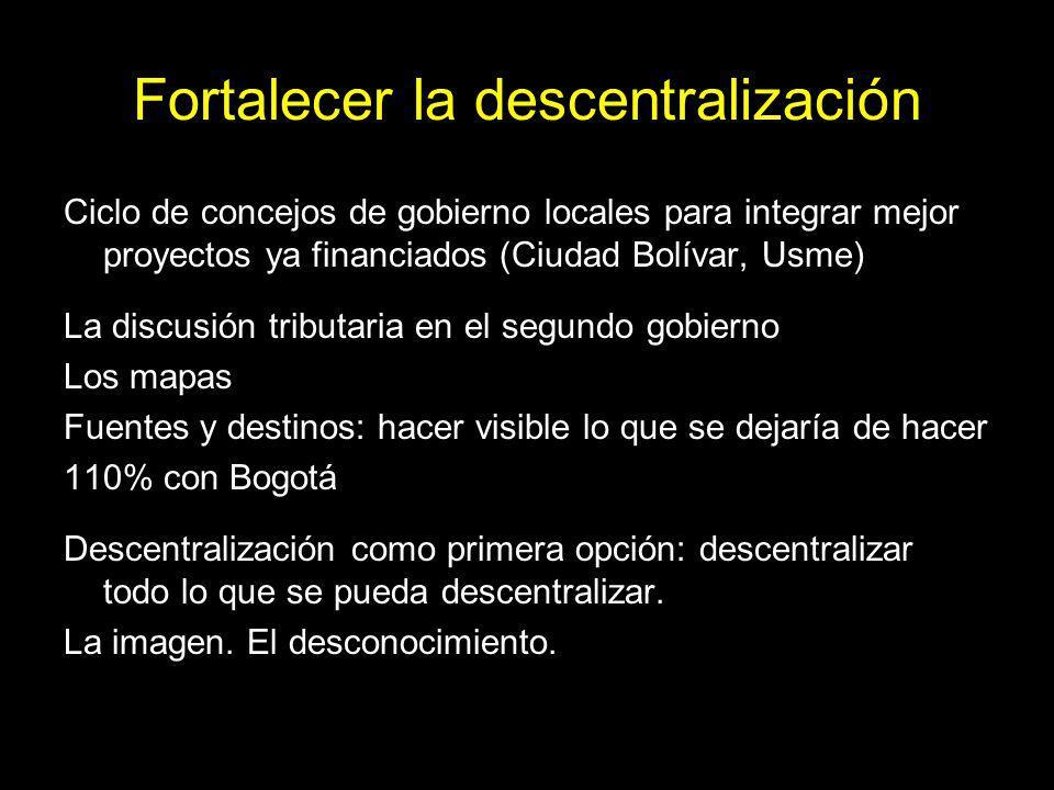 Fortalecer la descentralización Ciclo de concejos de gobierno locales para integrar mejor proyectos ya financiados (Ciudad Bolívar, Usme) La discusión tributaria en el segundo gobierno Los mapas Fuentes y destinos: hacer visible lo que se dejaría de hacer 110% con Bogotá Descentralización como primera opción: descentralizar todo lo que se pueda descentralizar.