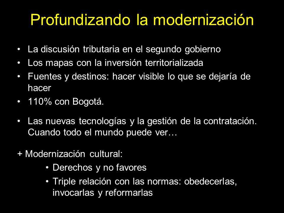 Profundizando la modernización La discusión tributaria en el segundo gobierno Los mapas con la inversión territorializada Fuentes y destinos: hacer visible lo que se dejaría de hacer 110% con Bogotá.