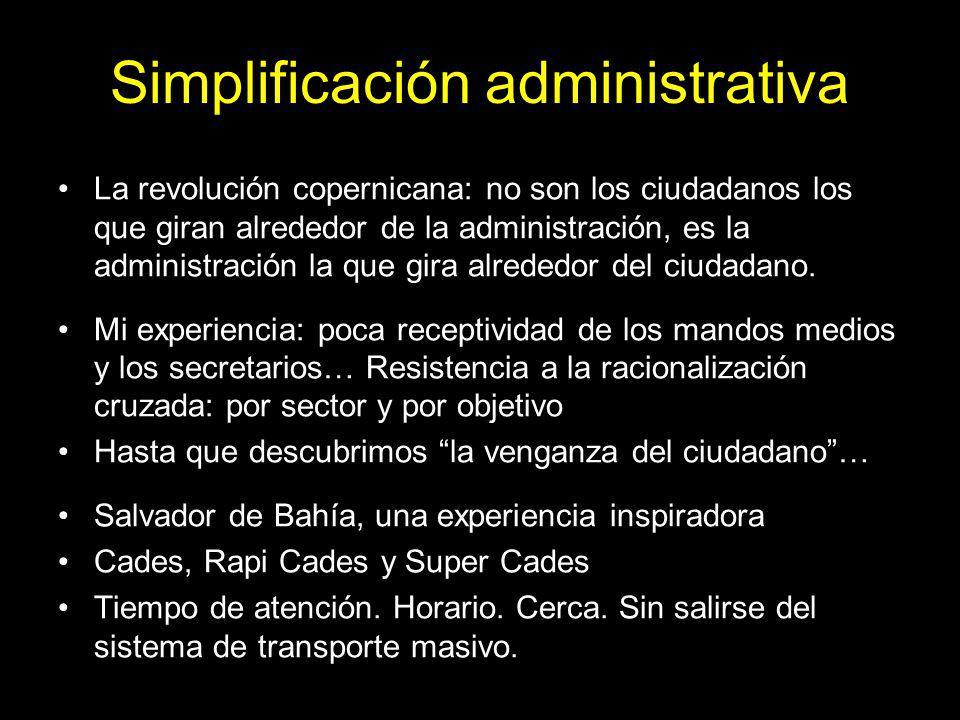 Simplificación administrativa La revolución copernicana: no son los ciudadanos los que giran alrededor de la administración, es la administración la que gira alrededor del ciudadano.