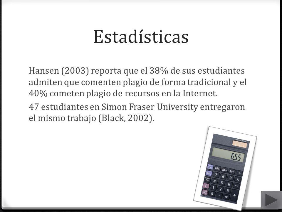 Estadísticas Hansen (2003) reporta que el 38% de sus estudiantes admiten que comenten plagio de forma tradicional y el 40% cometen plagio de recursos