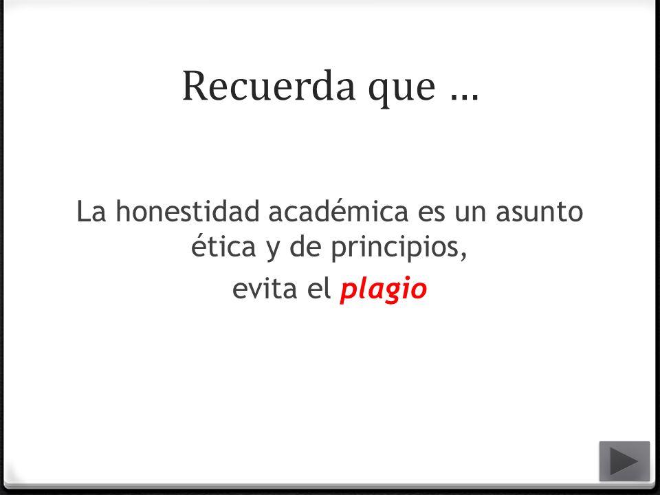 Recuerda que … La honestidad académica es un asunto ética y de principios, evita el plagio