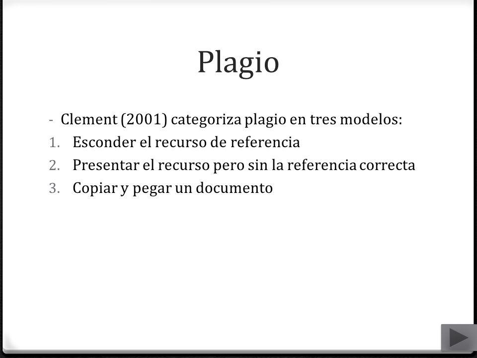 Plagio - Clement (2001) categoriza plagio en tres modelos: 1. Esconder el recurso de referencia 2. Presentar el recurso pero sin la referencia correct