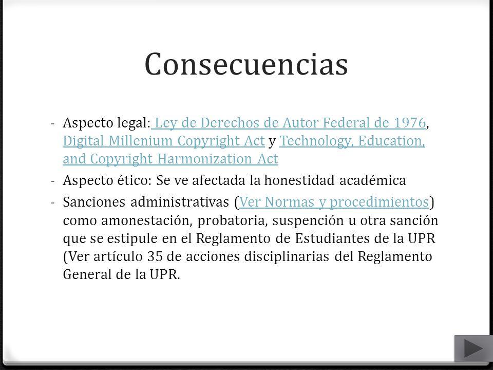 Consecuencias - Aspecto legal: Ley de Derechos de Autor Federal de 1976, Digital Millenium Copyright Act y Technology, Education, and Copyright Harmon
